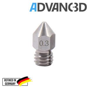 MK7 Nozzle aus Edelstahl X 8 CrNiS 18 9 in 0.4mm für 1.75mm Filament