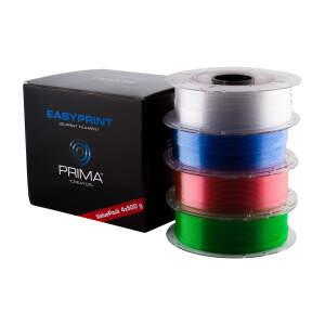 EasyPrint PETG Value Pack - 1.75mm - 4x 500 g (Total 2 kg) - Clear, Rose, Light Blue, Green
