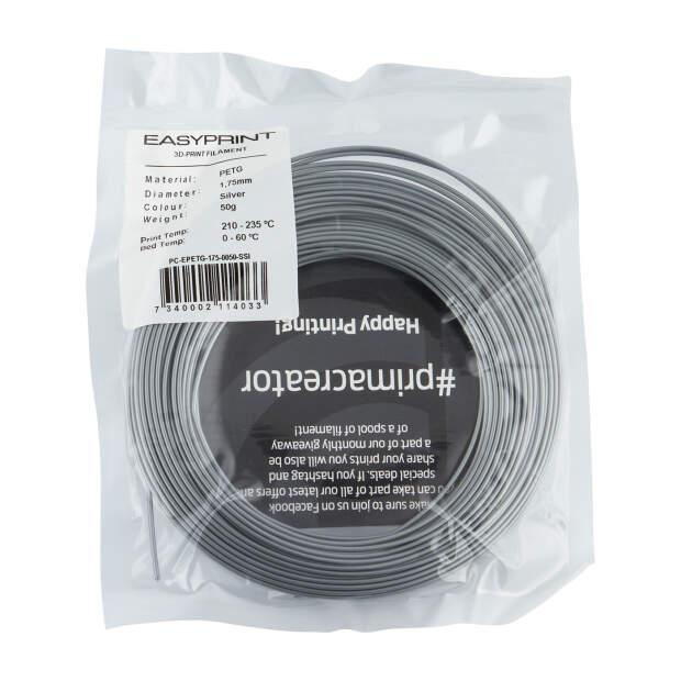 EasyPrint PETG Sample - 1.75mm - 50 g - Solid Silver