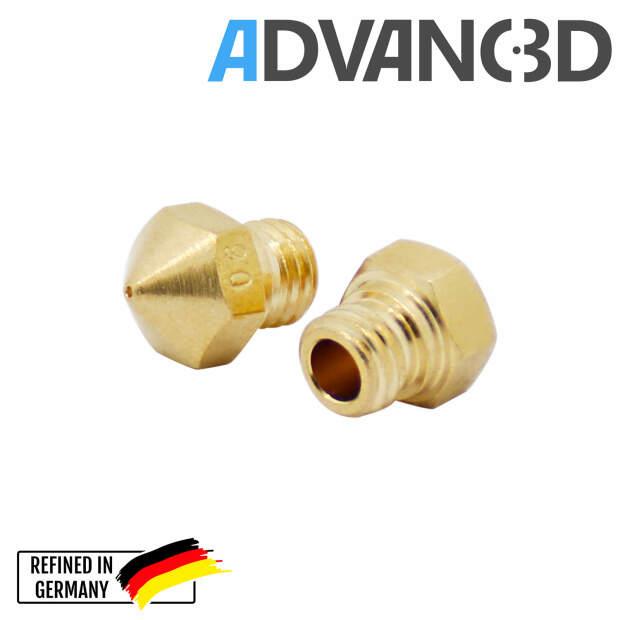 MK10 Nozzle aus Messing CuZn37 in 0.4mm für 1.75mm Filament vorne