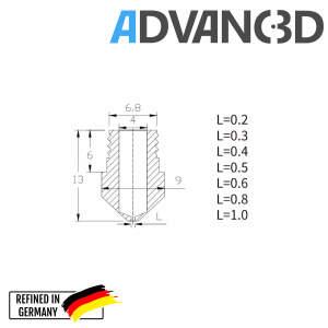 MK10 Nozzle aus Edelstahl X 8 CrNiS 18 9 in 0.4mm für 1.75mm Filament detail