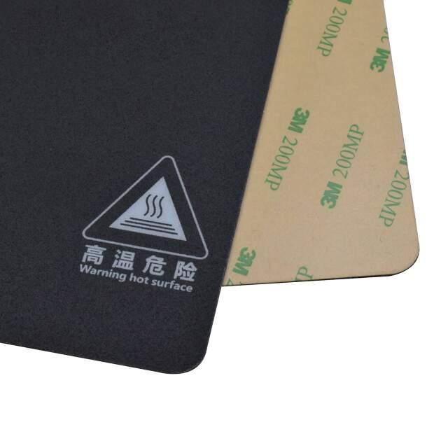 Druckbettbeschichtung 220x220mm selbstklebende Folie schwarz mit Gitternetz vorne