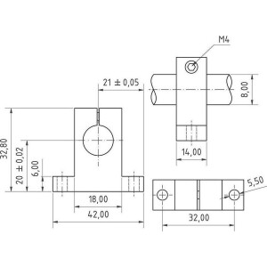 Aluminium Wellenhalter für 8mm Welle Linearführung 3D-Drucker CNC Robotik seite