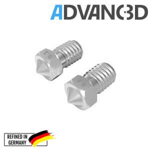 V6 Style Nozzle aus gehärteter Stahl  C15 in 0.4mm für 1.75mm Filament