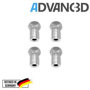 V6 Style Nozzle aus gehärteter Stahl  C15 in 0.4mm für 1.75mm Filament seite