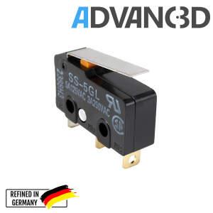 Microschalter 3 Pins 3A-5A 125V-250V SS-5GL-2 20x10x6mm flach
