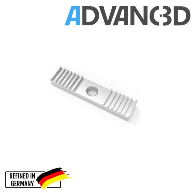 Zahnriemen Klemme aus Aluminium Timing belt toothed aluminum fixing piece vorne