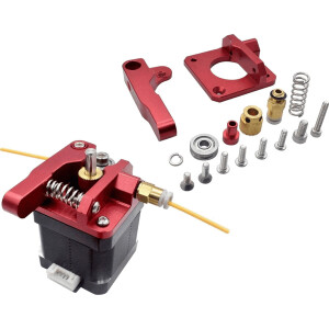 CR-10 Ender 3 Aluminium Extruder mit variabler Federspannung UPGRADE rot links detail